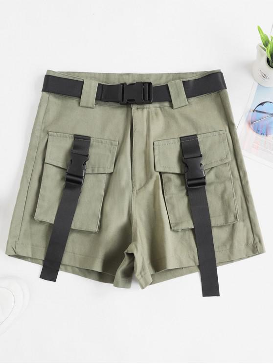 unique Belted Buckle Zipper Fly Cargo Shors - ARMY GREEN M