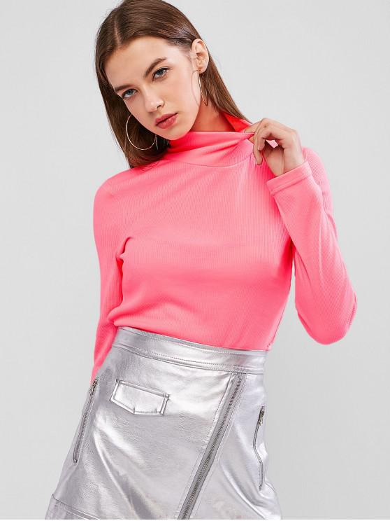 lady Neon High Neck Ribbed Slim Knitwear - NEON PINK M