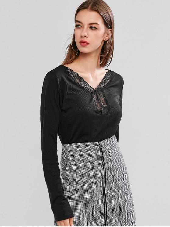 fancy V Neck Lace Ribbed Basic Sweater - BLACK M