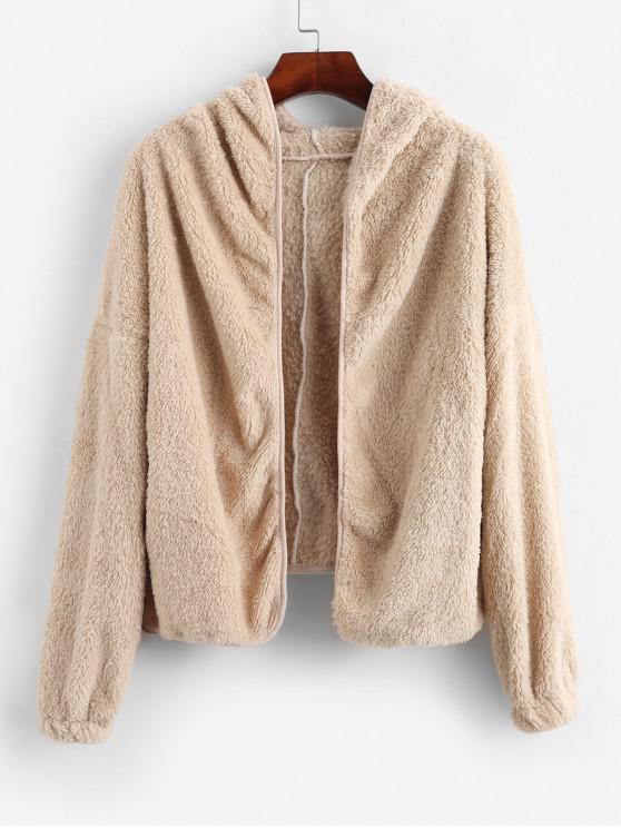 lady Pockets Open Front Fluffy Faux Shearling Jacket - LIGHT KHAKI S