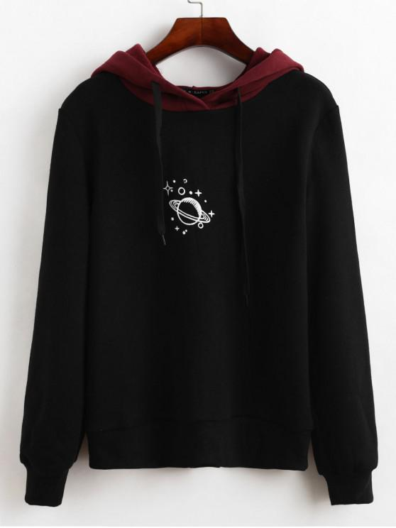 trendy ZAFUL Fleece Lined Planet Graphic Two Tone Drawstring Hoodie - BLACK L