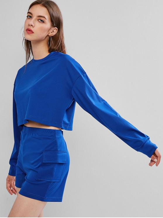 unique Athleisure Crop Top with Shorts - SKY BLUE L