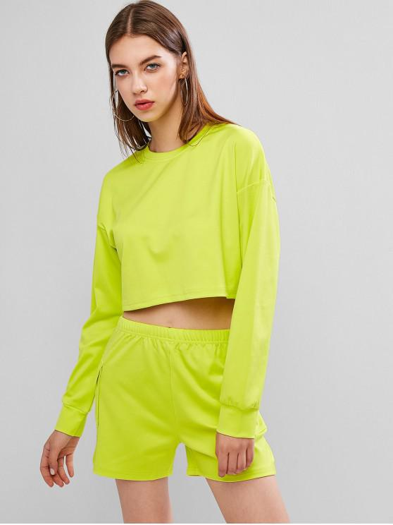 women's Athleisure Crop Top with Shorts - TEA GREEN M