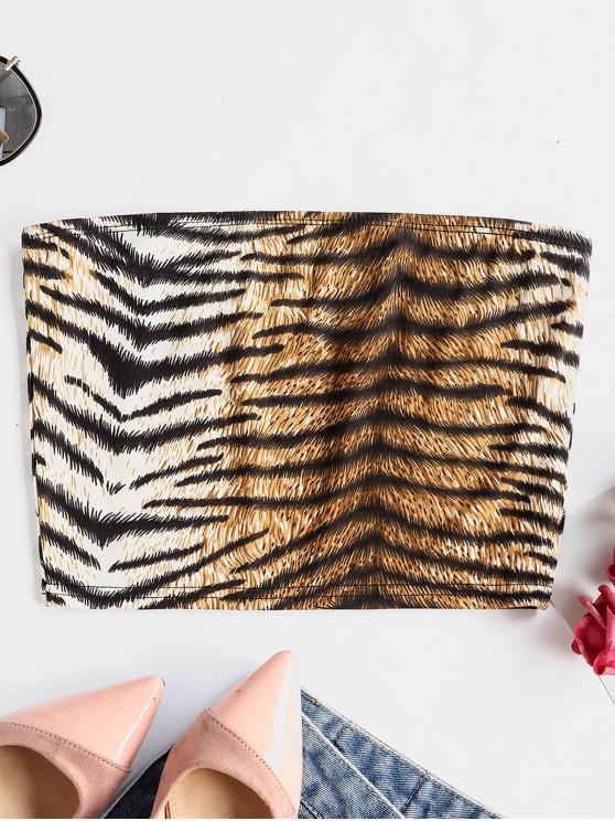 affordable Tiger Print Stretchy Crop Bandeau Top - MULTI L