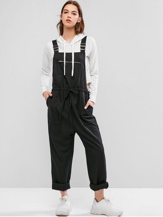 chic Zipper Wide Leg Pinafore Jumpsuit - BLACK S