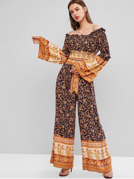 outfits Bell Sleeves Floral Off Shoulder Two Pieces Set - MULTI M