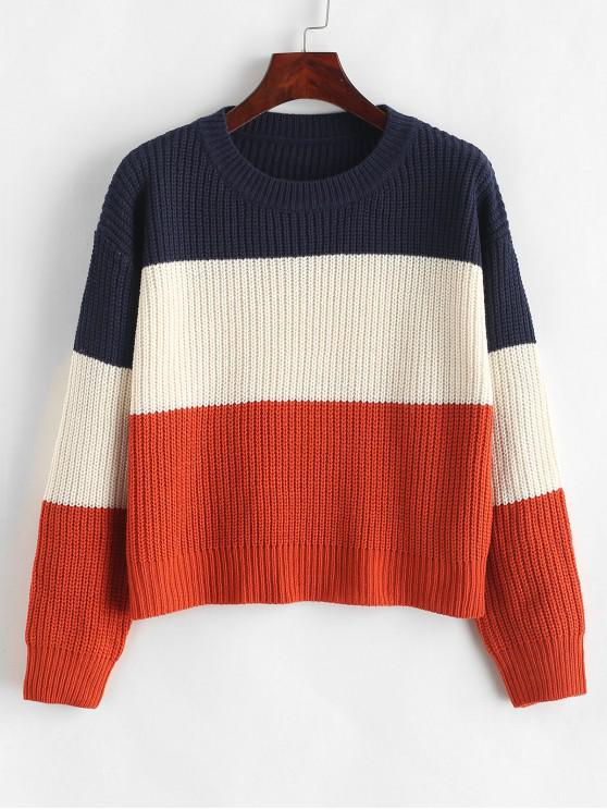 outfits ZAFUL Color Block Striped Sweater - MULTI-E ONE SIZE
