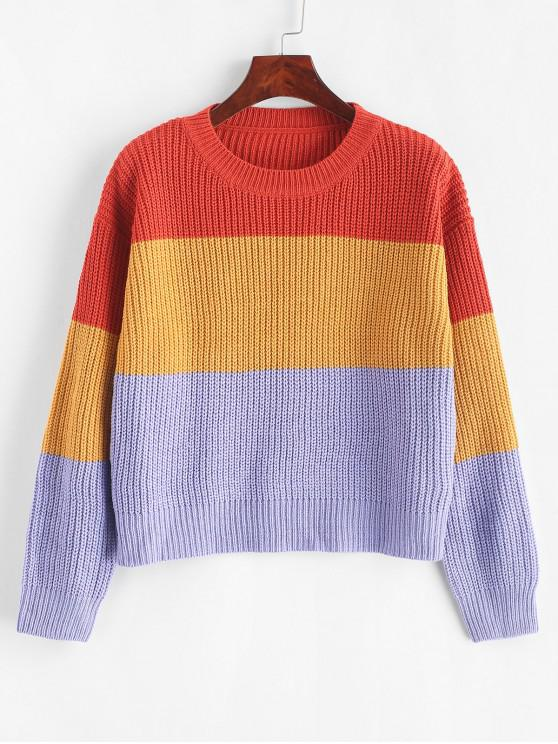 trendy ZAFUL Color Block Striped Sweater - MULTI-F ONE SIZE