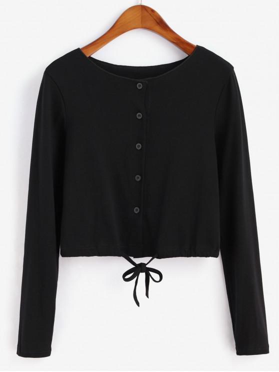 outfits Drawstring Button Front Long Sleeve Tee - BLACK M
