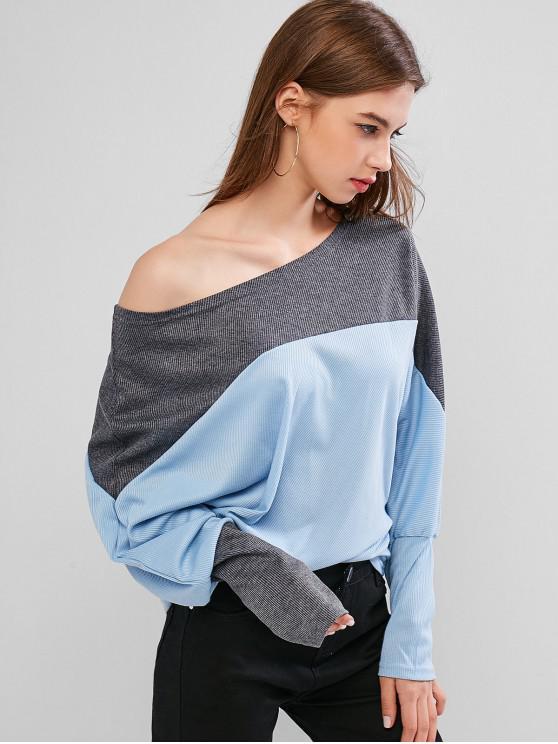 Collar de inclinación acanalado tapa del Batwing - Azul Claro M