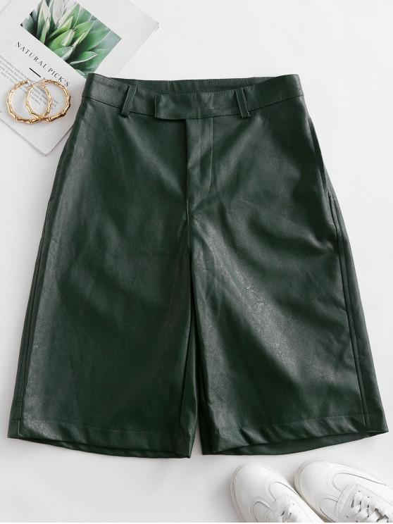 women Faux Leather Knee Length Pocket Shorts - MEDIUM FOREST GREEN M