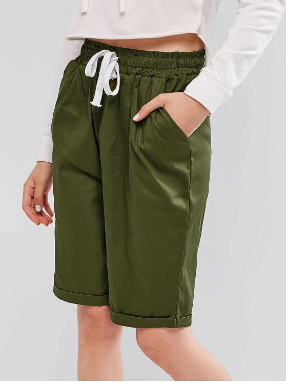 Cordón de bolsillo Cuffed Pantalones cortos de gran altura - Ejercito Verde S
