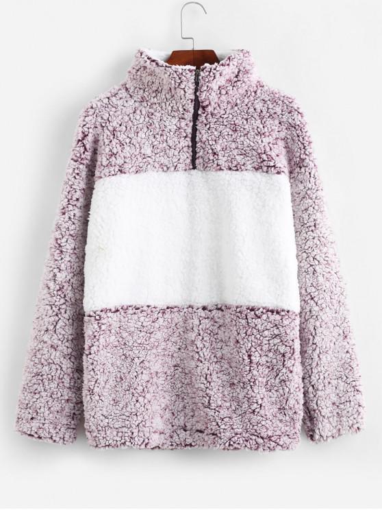 fancy Quarter Zip Contrast Pocket Fluffy Teddy Sweatshirt - MULTI M