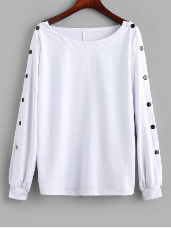 Sweat-shirt Lâche à Manches Boutonnées - Blanc L