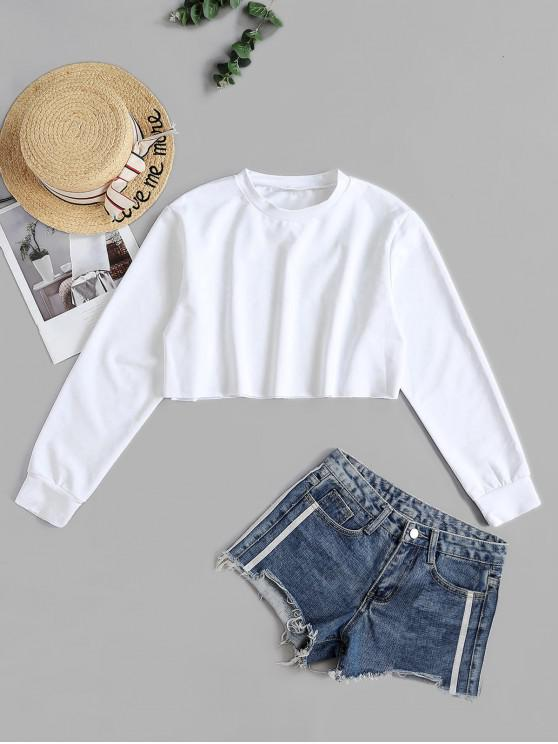 fashion Plain Raw Hem Cropped Pullover Sweatshirt - WHITE S