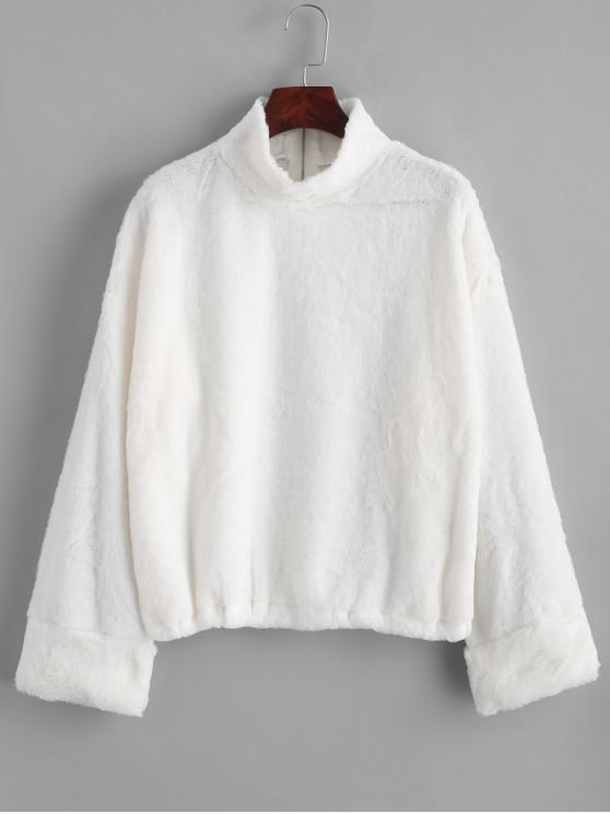 women Half Zip Fluffy Faux Fur Pullover Sweatshirt - WHITE M