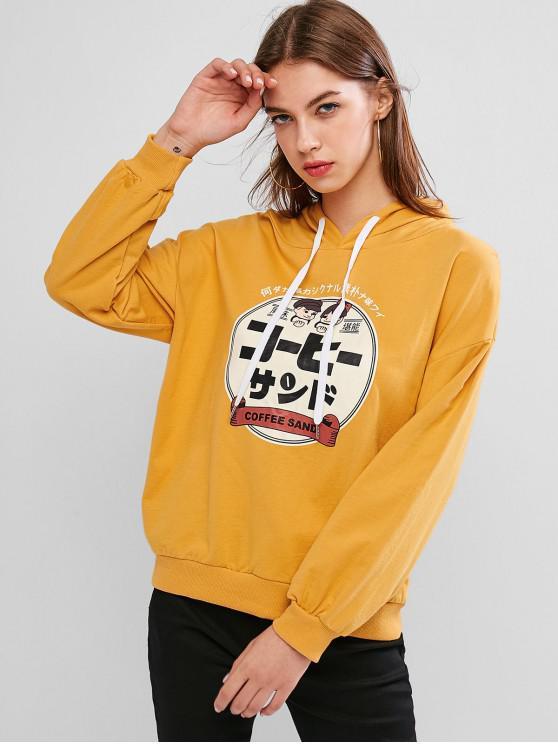 online Drop Shoulder Funny Graphic Drawstring Hoodie - GOLDEN BROWN XL