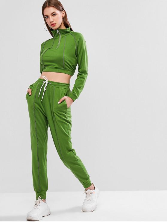La mitad de las tuberías del raglán de la manga con cremallera pantalones fijados - Verde de Trébol  M
