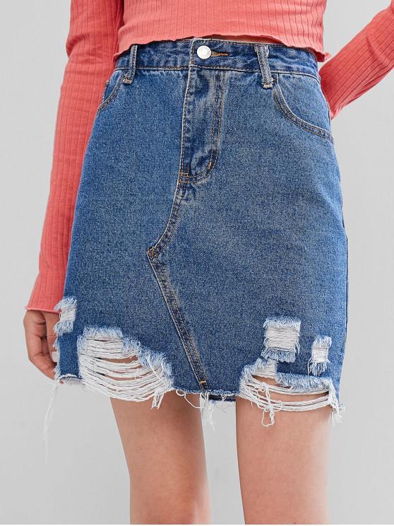 hot Distressed Zipper Fly Bodycon Denim Skirt - DENIM BLUE S