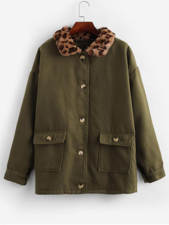 trendy Flap Pockets Leopard Fur Collar Wool Blend Coat - FERN GREEN M