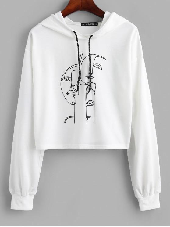 sale ZAFUL Funny Graphic Drop Shoulder Pullover Hoodie - WHITE XL