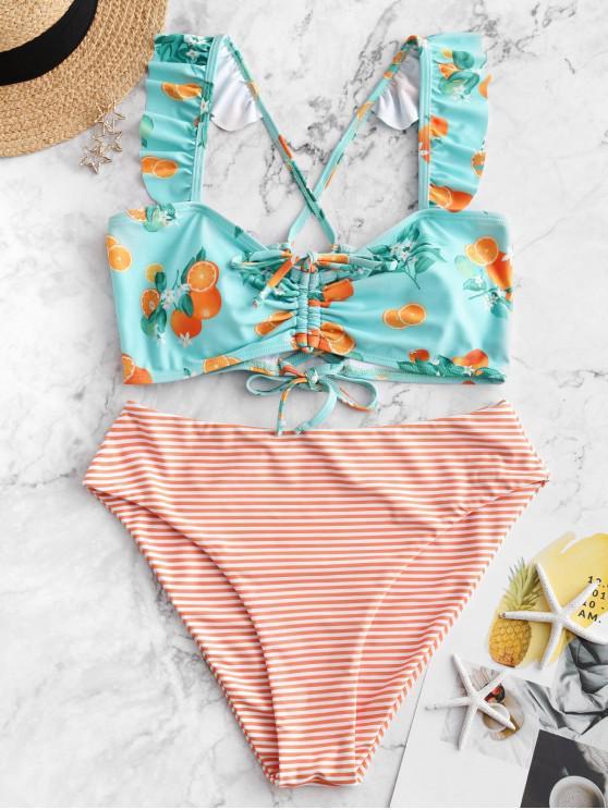 lady ZAFUL Cinched Orange Print Striped Ruffle Tankini Swimsuit - MULTI-A S