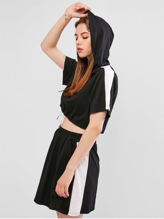 buy Two Tone Hooded Drawstring Two Piece Dress Set - BLACK S