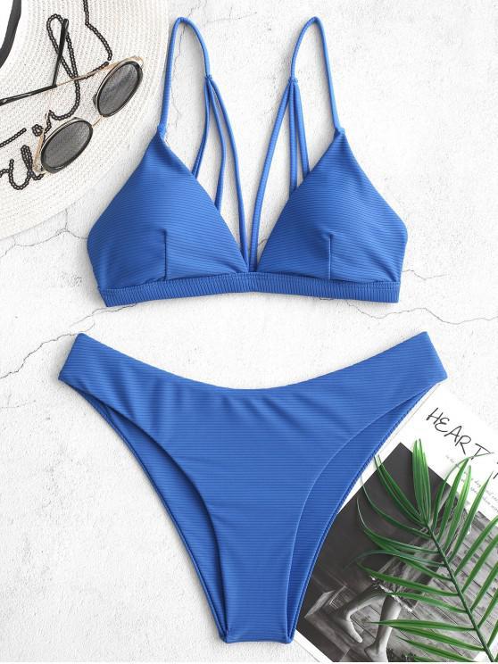 ladies ZAFUL Ribbed Strappy High Leg Bikini Swimsuit - OCEAN BLUE S