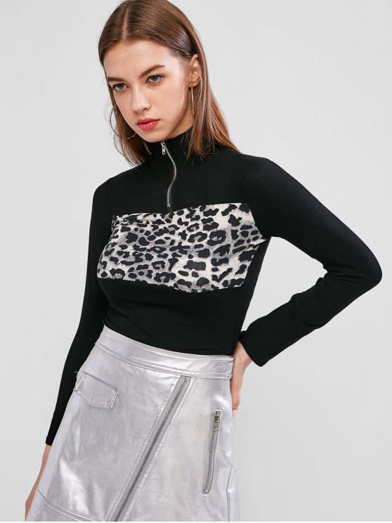 outfits Leopard Insert Quarter Zip Mock Neck T-shirt - BLACK ONE SIZE