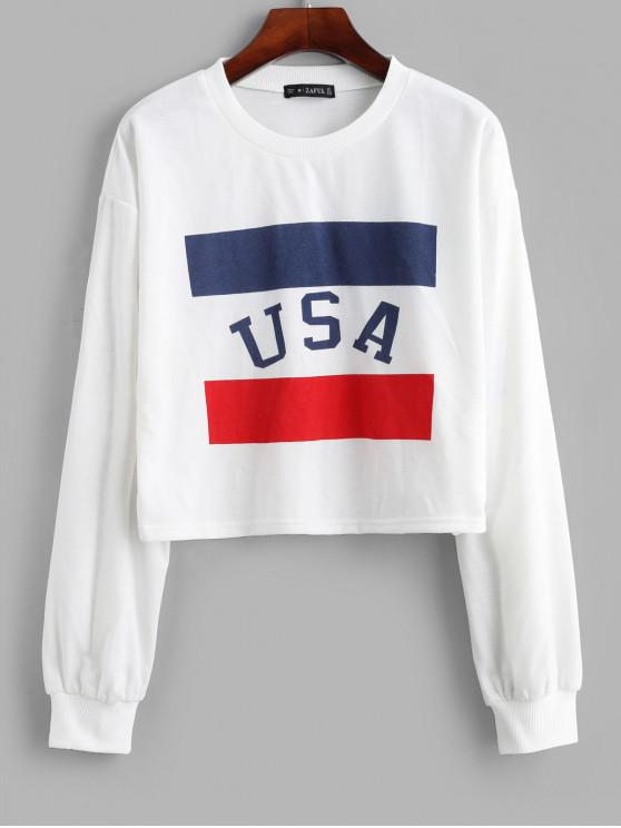 women's ZAFUL Drop Shoulder Contrast American Flag Sweatshirt - WHITE S