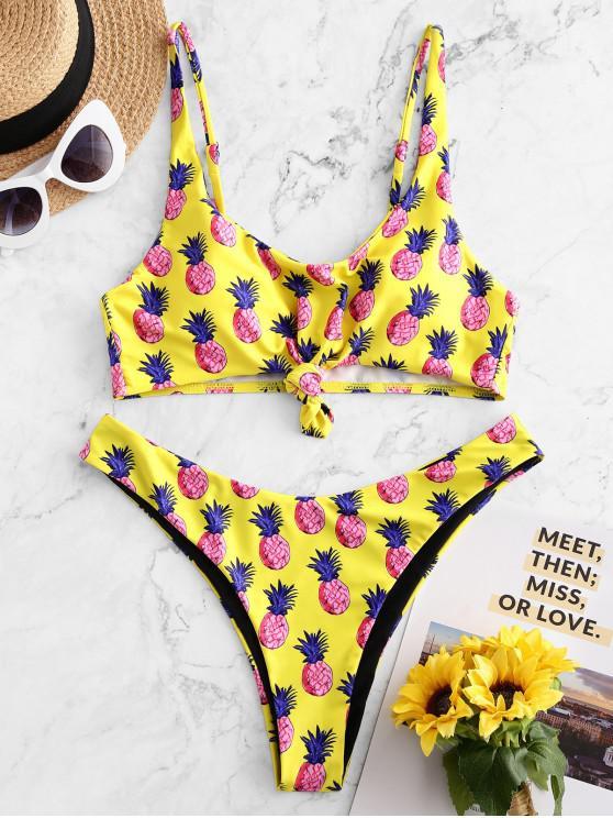 chic ZAFUL Pineapple Knotted High Leg Bikini Swimsuit - YELLOW S