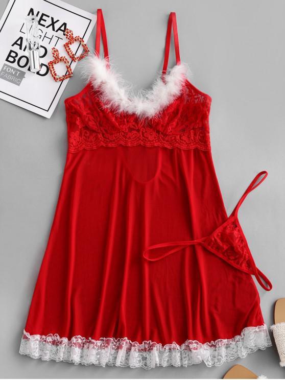 shop Christmas Mesh Babydoll Lingerie Set - RED M