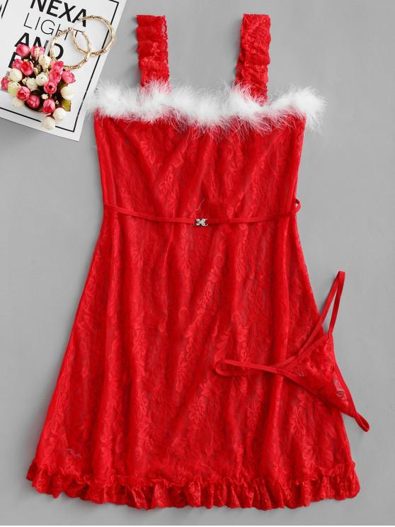 lady Christmas Cosplay Lace Lingerie Babydoll Set - RED XL