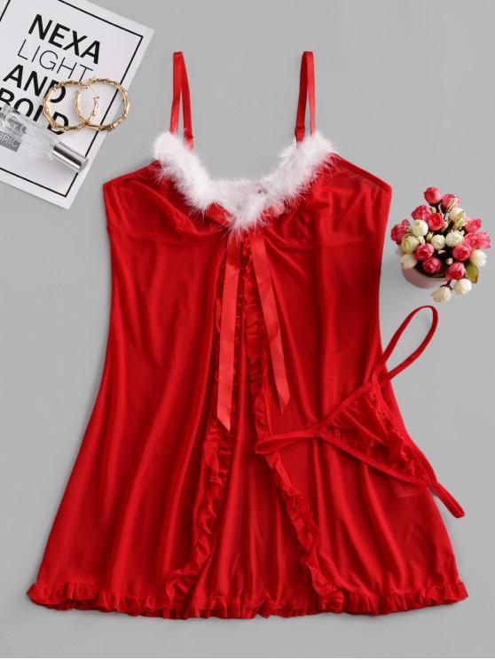 عيد الميلاد سبليت منزعج شبكة الملابس الداخلية بيبي دول مجموعة - أحمر L