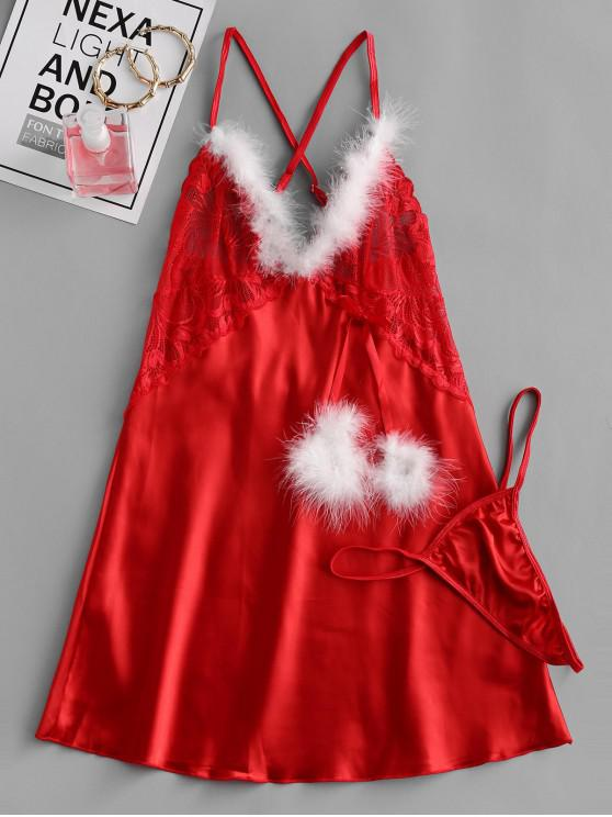 womens Feather Trim Criss Cross Christmas Lingerie Babydoll  Set - RED 2XL