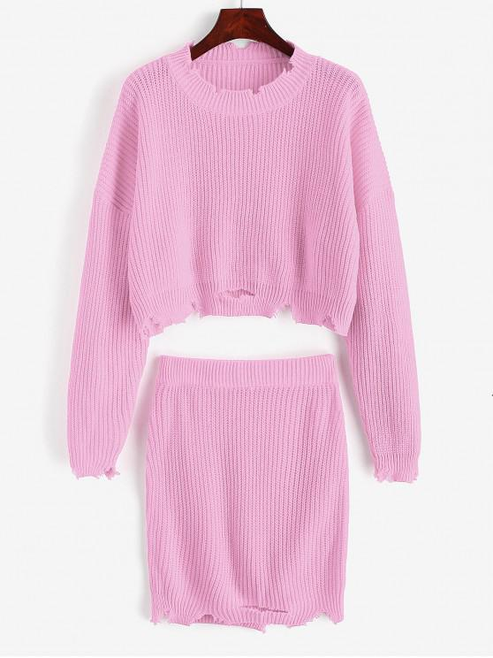 latest Ripped Cropped Sweater Two Pieces Skirt - PINK L
