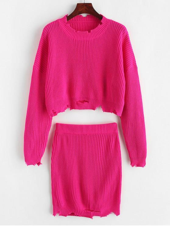 Rasgado recortada suéter de la falda de dos piezas - Rosa Roja M