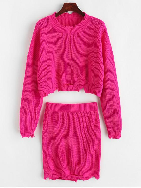 trendy Ripped Cropped Sweater Two Pieces Skirt - ROSE RED L