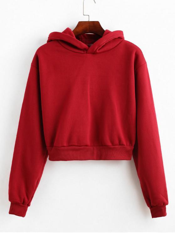 new Plain Fleece Lined Ribbed Hem Crop Hoodie - RED WINE L