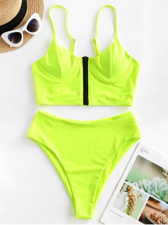 trendy ZAFUL Neon Zip Front Underwire High Cut Tankini Swimsuit - GREEN YELLOW 2XL
