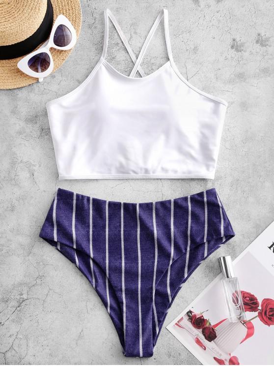 sale ZAFUL Striped Denim Print Lace Up High Waisted Tankini Swimsuit - DENIM DARK BLUE XL
