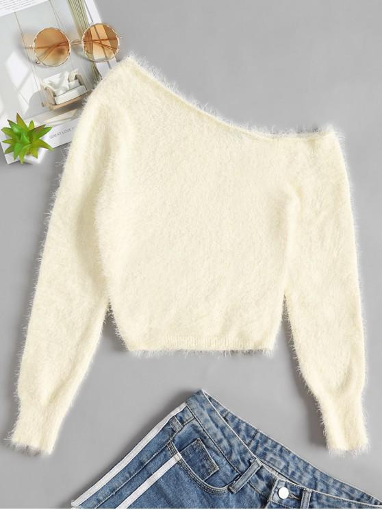 fashion One Shoulder Fuzzy Plain Sweater - BEIGE M