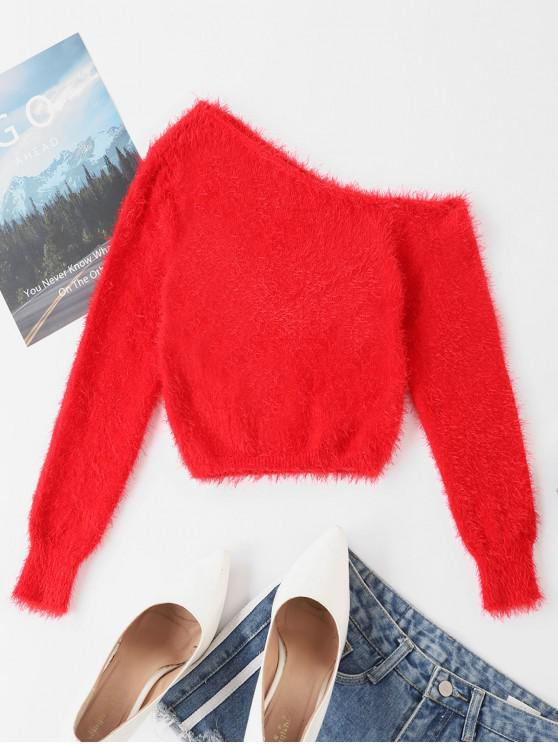 trendy One Shoulder Fuzzy Plain Sweater - RED M