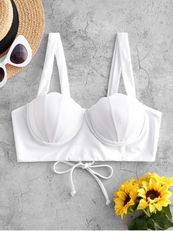 trendy ZAFUL Lace-up Push Up Mermaid Bikini Top - MILK WHITE M