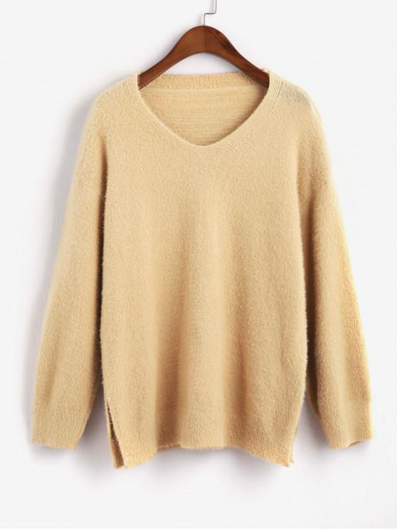 chic Fuzzy Knit Slit Drop Shoulder Boyfriend Sweater - LIGHT KHAKI ONE SIZE