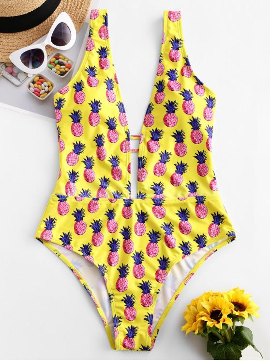 shop ZAFUL Pineapple Plunging One-piece Swimsuit - YELLOW S