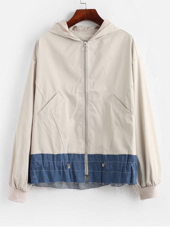 affordable Color Block Zip Up Drawstring Hooded Jacket - BEIGE S