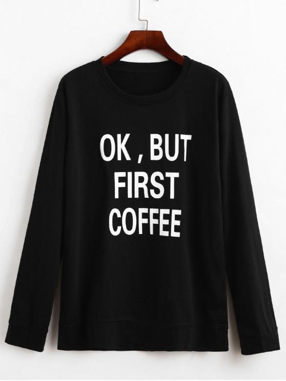 fancy Letter Graphic Loose Sweatshirt - BLACK 2XL