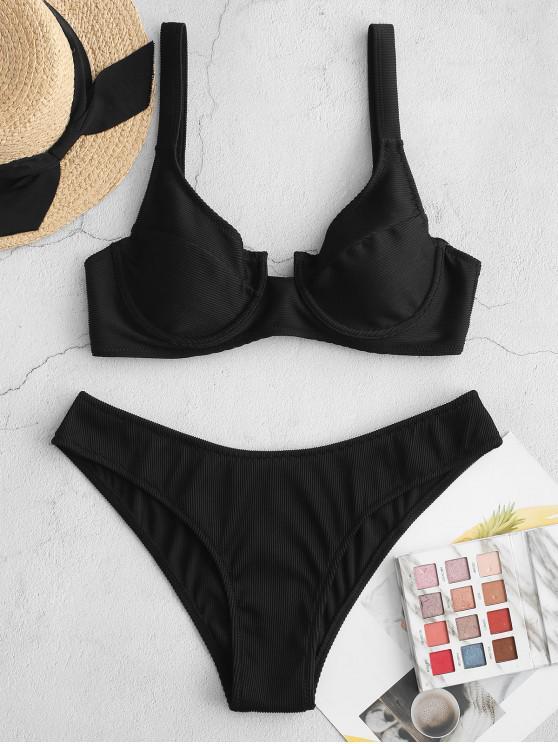 ZAFUL Underwire pețiol ridicat Leg Bikini Costume de baie - Negru M