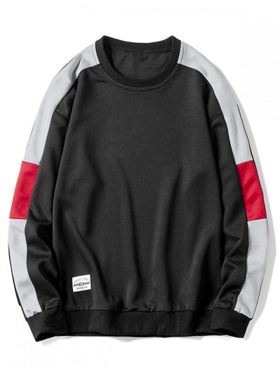 Sudadera Contraste de Color Empalmado de Cuello Redondo - Negro S